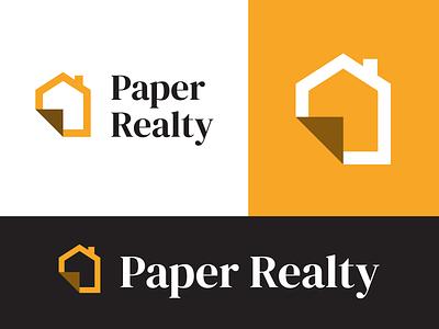 Paper Realty Branding & Logo branding logo chimney real estate origami house fold paper