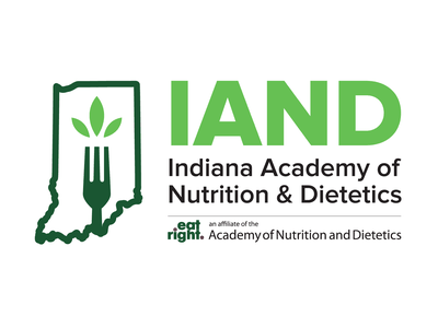 IAND - Indiana Academy of Nutrition & Dietetics Logo branding logo green health diet indiana eat right dietetics nutrition leaf fork