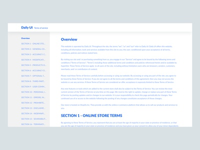 Daily UI Challenge #089 - Terms of Service text light blue terms of service daily ui 89 website desktop daily ui challenge ui design ui daily ui