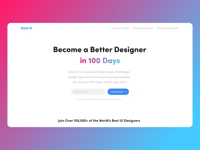 Daily UI Challenge #100 - Redesign Daily UI Landing Page user ux landing subscribe start page landing page ui landing page daily ui 100 redesign website desktop daily ui challenge ui design ui daily ui