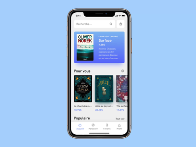 Click & Collect App of a Library homepage add to cart news popular explore soft shop cacatoes challenge product page cart datepicker book clickandcollect gradients light app design mobile challenge ui