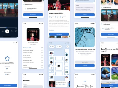 Ghibli Animation - App Concept cute character quiz playlist movie subscribe map museum exposition ghibli iphone design ux mobile app ui design ui