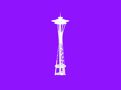 Space Needle flat illustration white architecture seattle space needle vector sketch