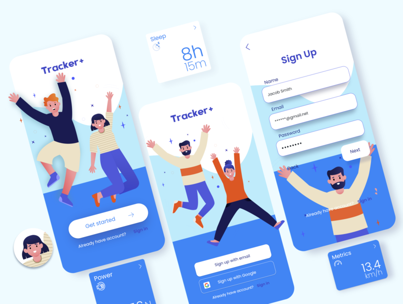 App concept login track sport typography app illustrator minimal flat art vector branding logo illustration design