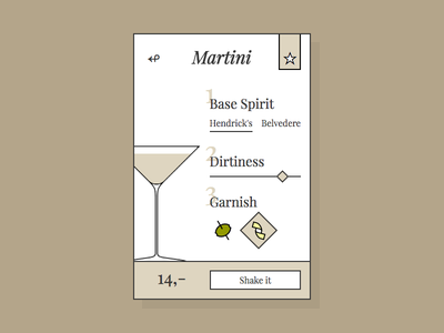 DailyUi 033 - Martini custom served ui vintage martini cocktail react design 033 dailyui