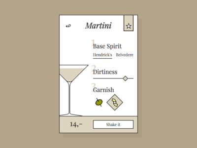 DailyUi 033 - Martini custom served