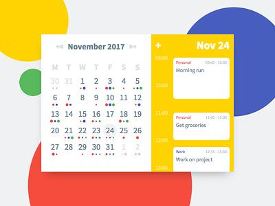 DailyUi 038 - Calendar ui color calendar react design 038 dailyui