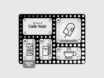 DailyUi 043 - Menu Card noir bw food menu react design 043 dailyui