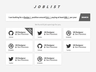 DailyUi 050 - Job Listing search white black bw ui job react design 022 dailyui