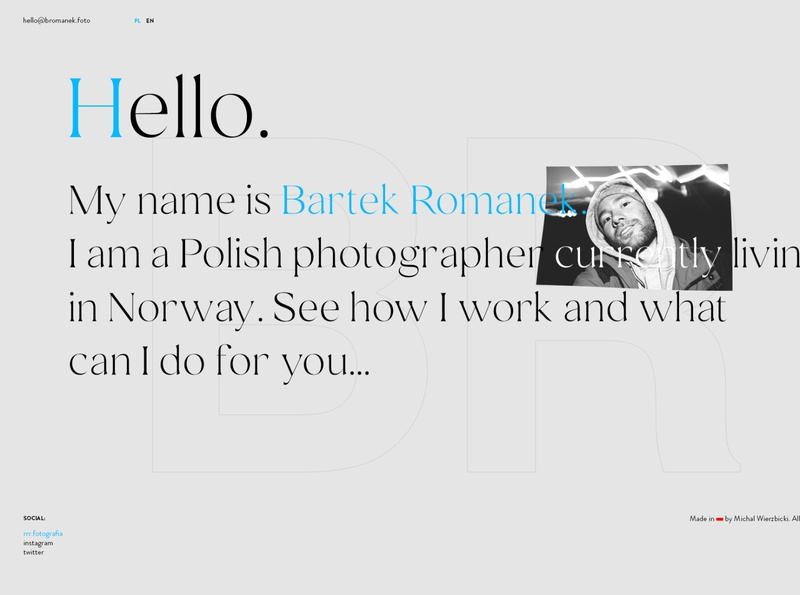 Bartek Romanek Photography photography ux minimal webdesign clean dark web poland design website ui