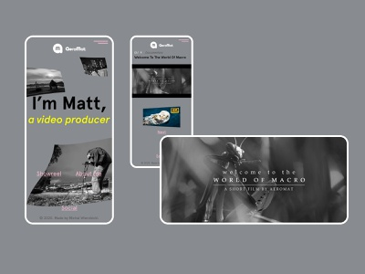 Aeromat Cinematography Mobile producer portfolio site modern graphicdesign mobile design showreel showcase portfolio video movie mobile clean dark poland webdesign minimal design ui web