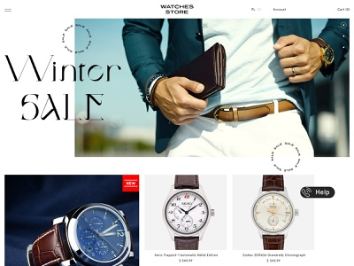 Watches Store (work in progress) man store adobexd photoshop elegant web design clock watches ecommerce light clean poland webdesign minimal design website ui web