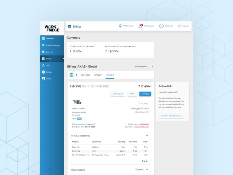Work Fridge   Billing Overview simple clean interface simple overview saas design saas uidesign management tool billing workfridge blue customer experience ux ui design