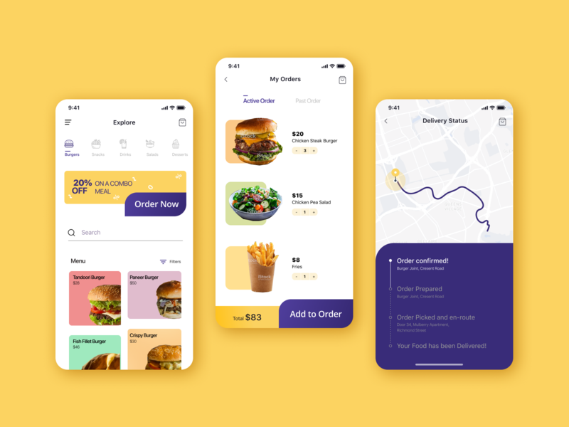Food Delivery App Concept colour pop menu food app food delivery delivery app app ux ui design