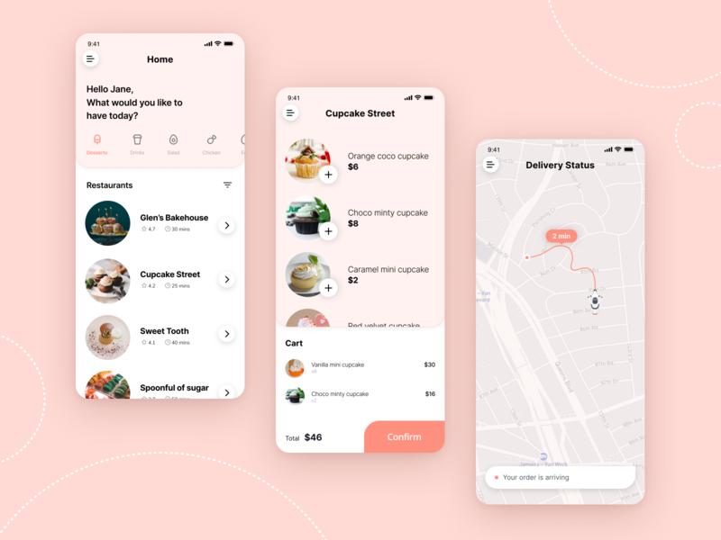 Food Delivery App Concept foodie desserts pastels delivery app food delivery app food app app ux ui design