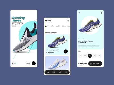 Ecommerce Mobile App for Running Shoes graphic design customer experience ux ui design