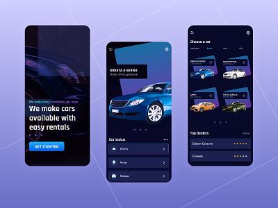 Car Rental Mobile App carbrands purpleui indigo cardealers rentalapp rental cars graphic design ux ui purple gradient gradient mauve purple uidesign mobile ui carapp drive carrentalapp carrental