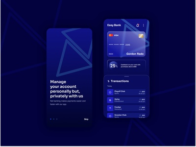 Banking App inkblue darkblue bankingapp designelements triangles bluegradient customer experience netbanking banking ux ui design