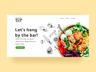 Salad Bar Landing Page Design landingpage websitedesign webapp website food tasty eggs vegetables illustration customer experience ux ui nutrition healthy onlineshopping online foodapp colourful salads salad bar