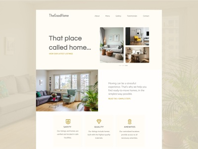 The Good Home - Landing Page ( Concept Website ) photography cream offwhite beige interiors websitedesign tenant rent rental typography customer experience website web ux ui design