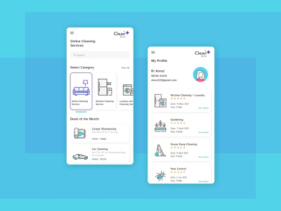 Clean&Co -  Home Services App vector customer experience typography branding logo home blue clean mobileapp homeservices ux ui design