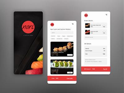Nori - Concept Food App black white red foodapp food nori sashimi sushi japanese app mobileapp branding logo customer experience ui design