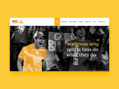 Homepage for a sports fan engagement company