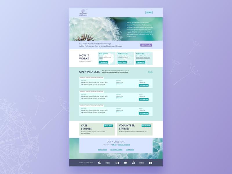 Homepage for a volunteering Platform design website web ui ux