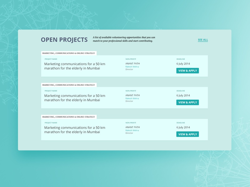 Open Projects page of a volunteering platform design website web ui ux
