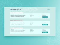 Open Projects page of a volunteering platform