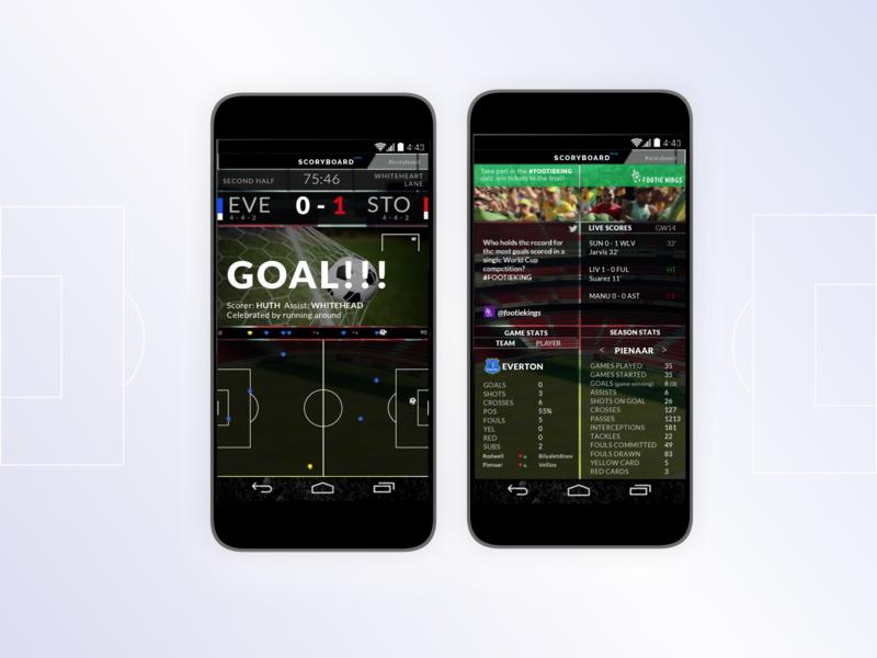 UX design of Scoryboard graphic design sports web website design ux