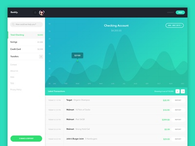 Bankly - Checking Account Dashboard uiux checking account analytics