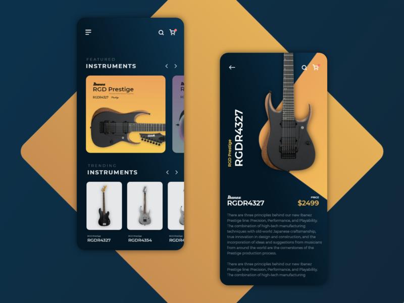 Ibanez Guitar App idea clean dark ui app designer uxui buisness shop guitars guitar appdesign app design shopping app app uxdesign ux