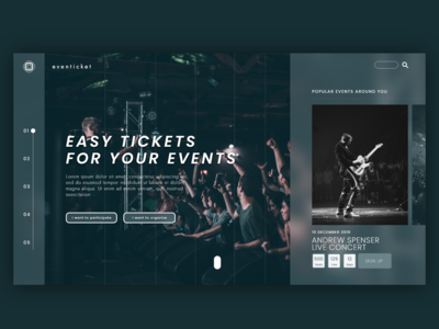 event ticketing site landing page design