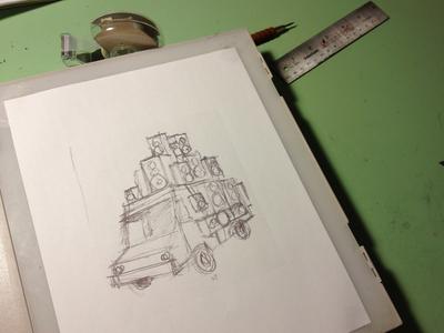 Blown-Up Sketch grand analog poster illustration sketch light table