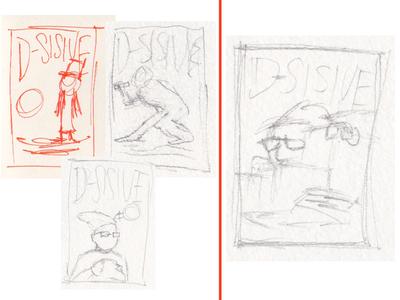 Four Thumbnails d-sisive poster thumbnails sketches