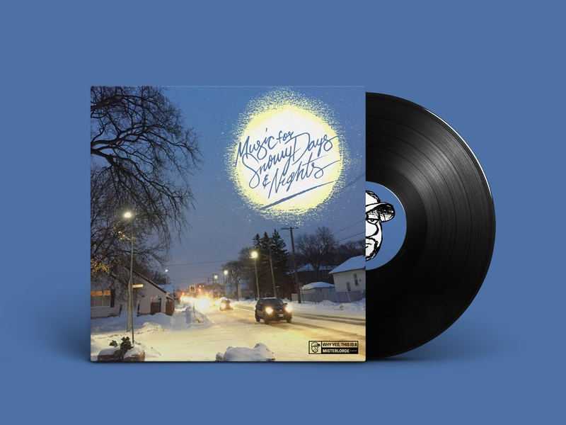 Music For Snowy Days and Nights photography lettering spotify graphic burger mockup playlist
