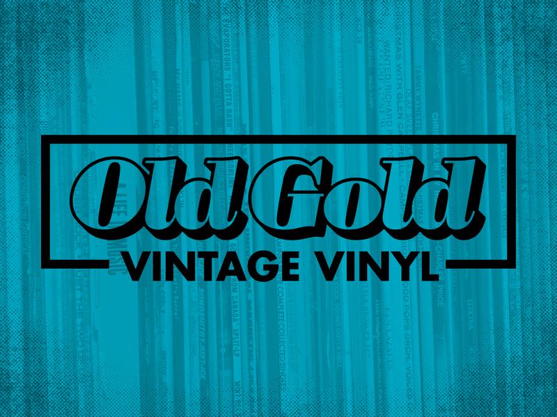 Old Gold Vintage Vinyl Logo futura bodoni poster italic records vintage vinyl logo