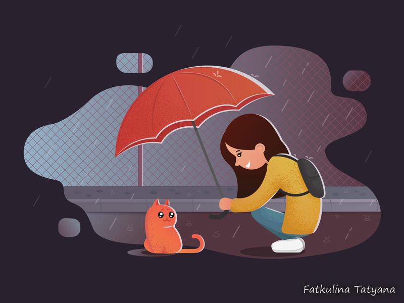 Unexpected meeting вечер дождь вектор иллюстрация