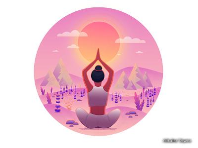 Yoga горы закат йога девушка вектор иллюстрация