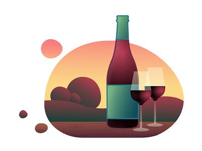On the Sunset вектор закат вино иллюстрация