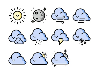 Weathermoji Icons weather icon weather emoji icon vector design illustration
