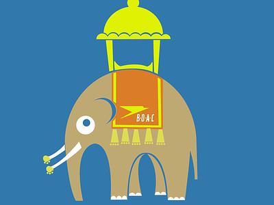 Fly BOAC to India travel elephant cute animal funny fun adobe illustrator 70s vector illustration
