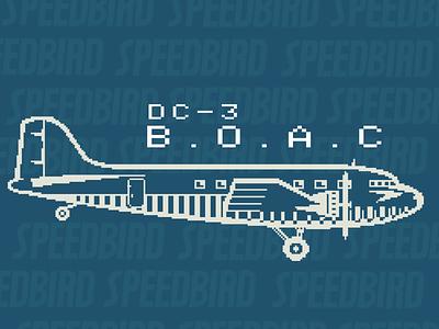 BOAC DC-3 Pixel Art fun airplanes adobe illustrator vector illustration art pixel