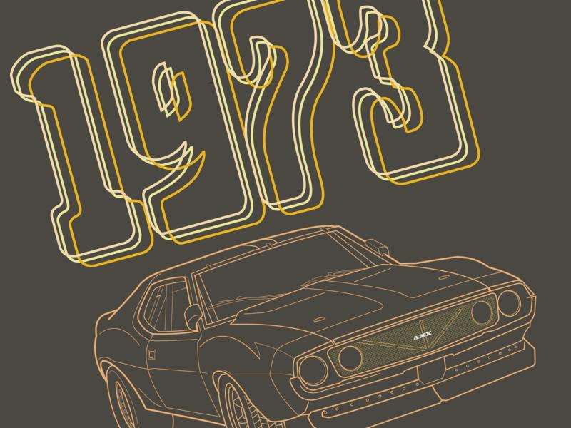 73 Javelin racing cars typography 70s fun vector adobe illustrator illustration