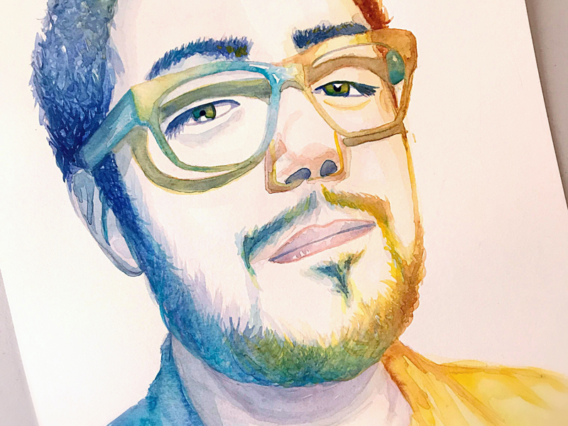 Light game in watercolor