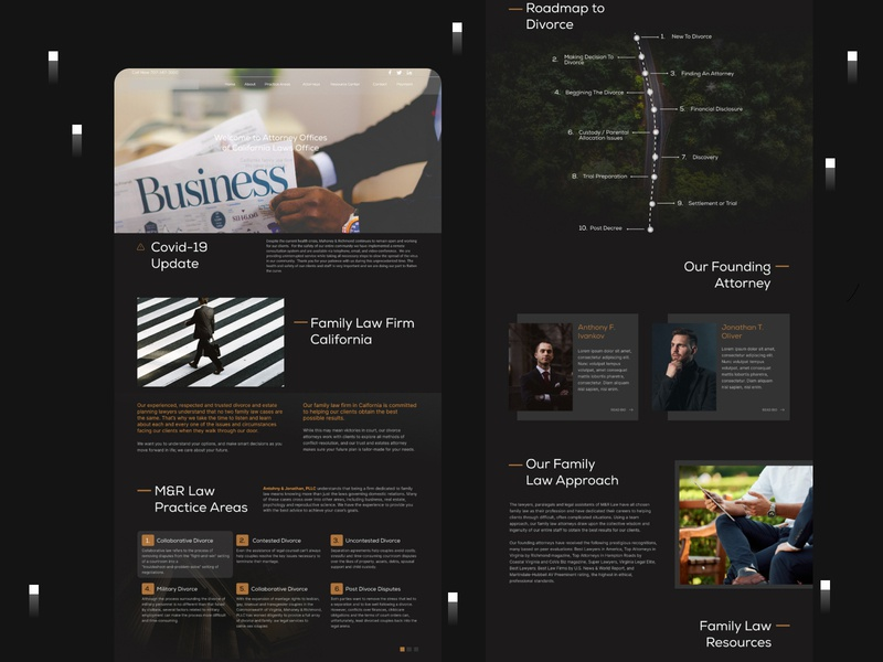 Attorney Landing Page design homepage home screen website business law lawyer attorney