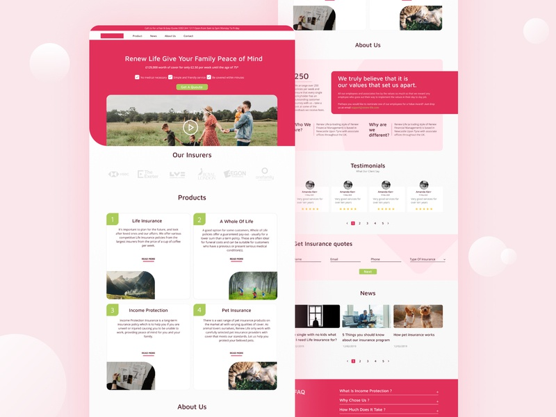 Insurace Website   Homepage educational healthcare healthy insurance website homepage ui design home screen