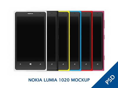 Nokia Lumia 1020 Colorful MOCKUP black kit psd free pink ui lumia windows phone wp8 mockup white freebie