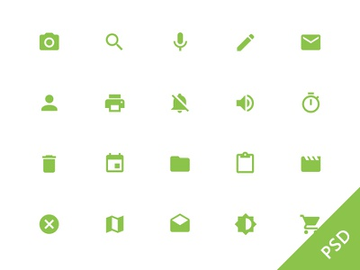 Android L System Icons android psd ui free freebie set icon icons music green white android l